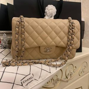 Chanel cc double flap classic nude medium